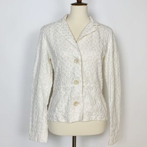 JOHNNY WAS White Eyelet Blazer Small
